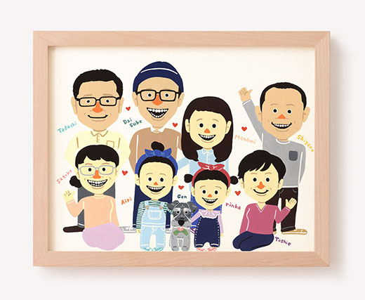 作家「ぐりこ TOYシリーズ」のご両親プレゼント似顔絵