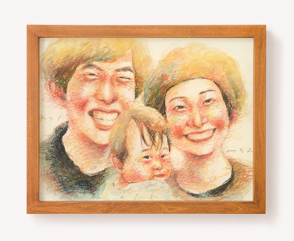作家「さかもとさやか」のご両親プレゼント似顔絵