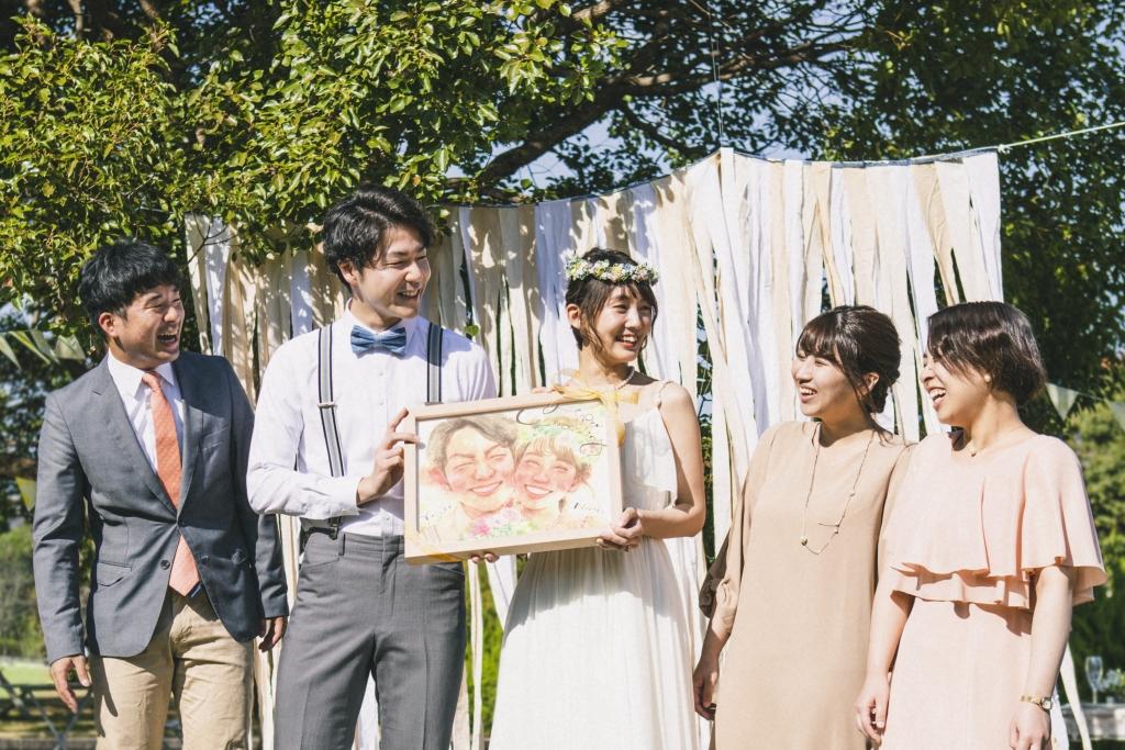 結婚祝いの似顔絵ウェルカムボード