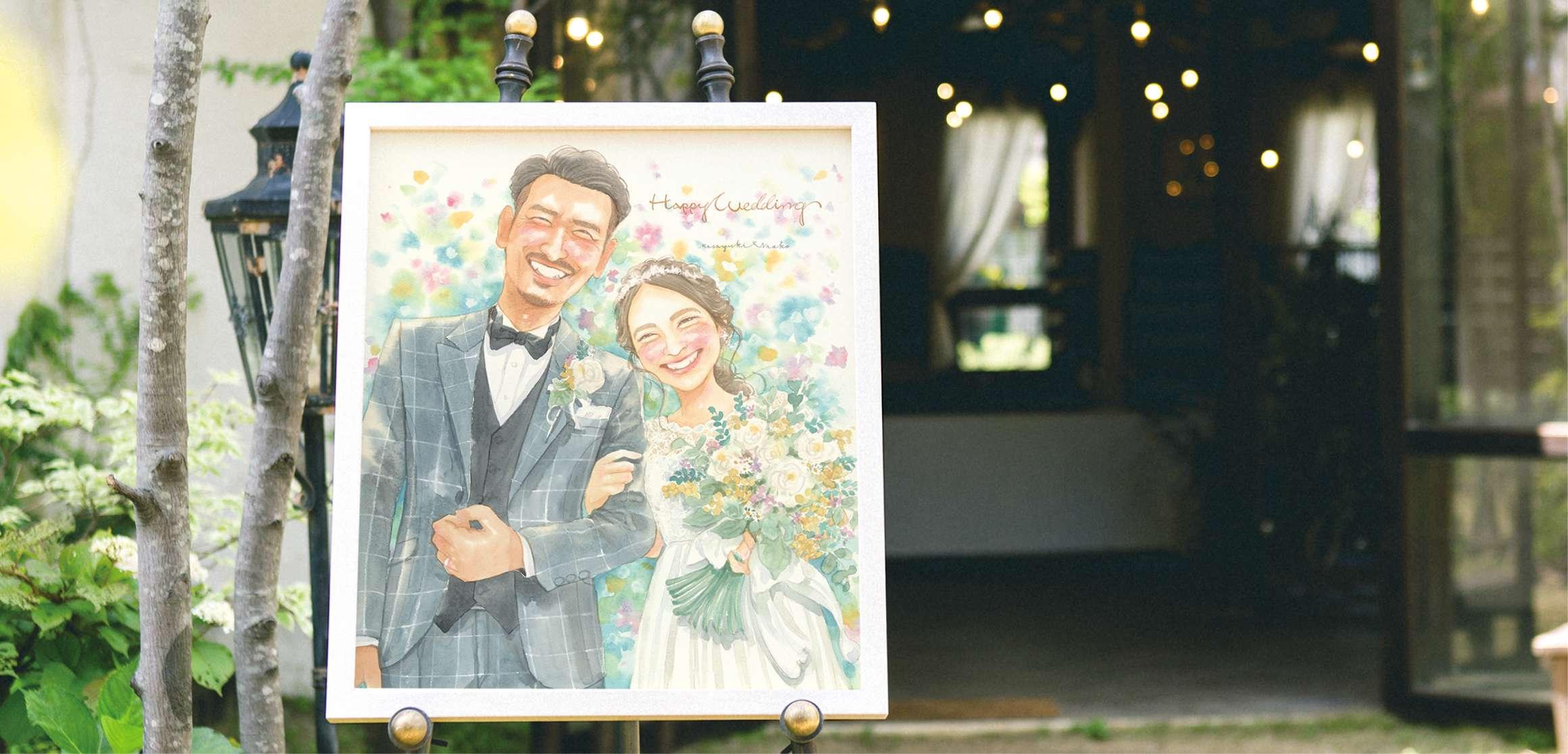 結婚式場の入り口を演出