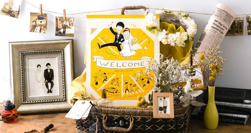 ドライフラワーで飾るウェルカムスペース