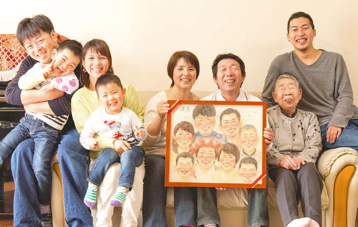 還暦祝い似顔絵プレゼント家族