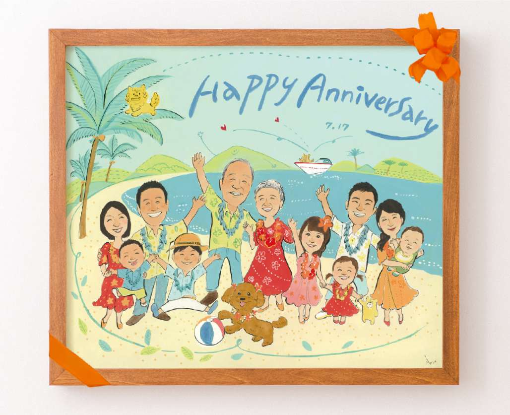 還暦祝い似顔絵 家族でハワイ